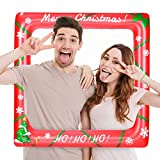LUOEM Christmas Inflatable Selfie Frame Blow Up Party Props for Christmas Party Decoration Family Reunions Photo Booth Props