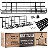 Under Desk Cable Management Tray - Cable Organizer for Wire Management with 25-straps. Metal Wire Cable Tray for Office and Home. Perfect Standing Desk Cable Management Basket (Black - Set of 2x 17'')
