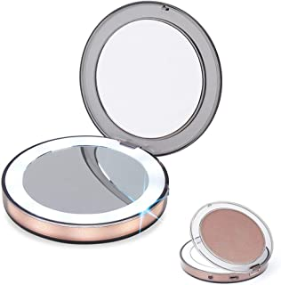 VIS'V LED Lighted Compact Makeup Mirror, 1/3X Magnification Travel Makeup Mirror Rechargeable Round Dual Sided Portable Vanity Mirror Foldable Cosmetic Mirror