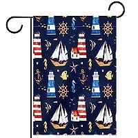 ガーデンサイン庭の装飾屋外バナー垂直旗アンカー灯台船の舵オールシーズンダブルレイヤー