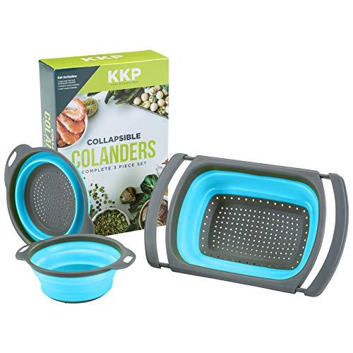 Kool Kitchen Pros - Juego de coladores plegables de silicona sin BPA, coladores y coladores plegables de malla de plástico para arroz y pasta, coladores de verduras, escurridor de alimentos
