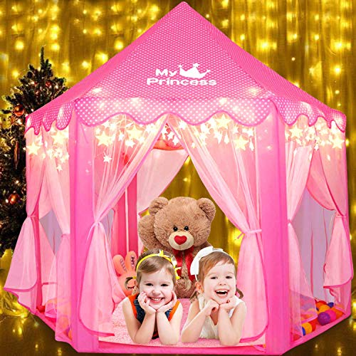Fivejoy Kids Play Tent Princess Tent Large Kids Play Tent for Girls Castle Play Pink Tent Kids Playhouse Girls/Boys Children Tent with Star Lights Birthday Gift Bed Tents Children Indoor & Outdoor