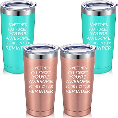 4 Pieces Thank You Gifts, Sometime You Forget You're Awesome So This Is Your Reminder Tumblers Appreciation Inspirational Gifts for Women Men Teachers Friends Employee, 20 oz Mug Tumblers