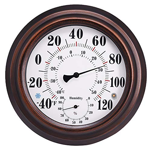 Indoor Outdoor Thermometer Wireless - Wall Thermometer Hygrometer with Stainless Steel Enclosure for Patio, Wall or Decorative, No Battery Required Hanging Hygrometer Round 8  in Diameter (Bronze)