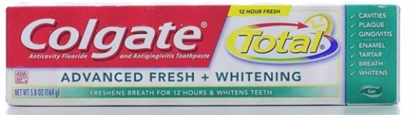 酸っぱい増幅器強風Colgate 総高度な新鮮+ホワイトニング歯磨き、フレッシュジェル、5.8オンス(3パック)