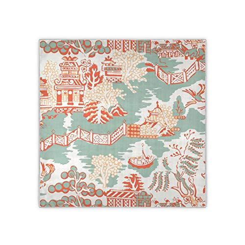 Bufanda cuadrada para mujer con patrón de aguamarina y coral y cuello bufandas y envolturas para la cabeza pañuelo de moda 35