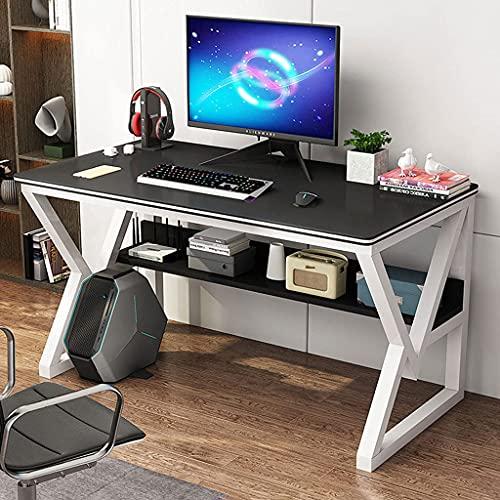QTWW Escritorio de computadora para Juegos súper Resistente, Marco de Acero al Carbono sólido, con Estante y Orificio para roscar Escritorio de Oficina Moderno Escritorio de Estudio para Oficina