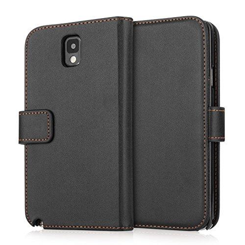 Yousave Accessories Custodia in PU Tipo Portafoglio per Samsung Galaxy Note 3, Effetto Cuoio, Nero