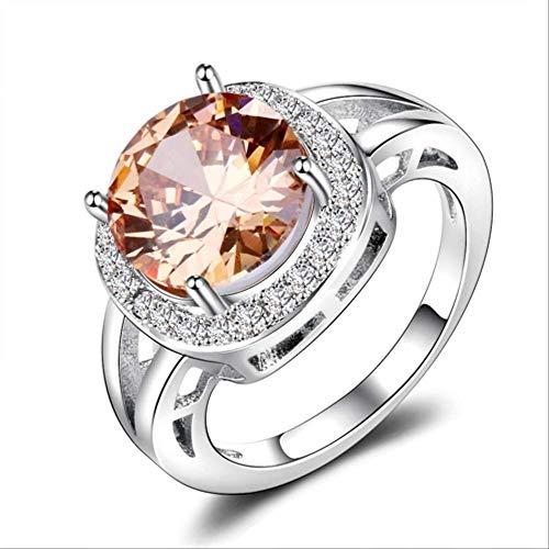 IWINO Luxe Rookkwarts Ringen Voor Vrouwen Zilver 925 Sieraden Ronde Gemaakt Edelsteen Ring Mode Bruiloft Cadeau Champagne