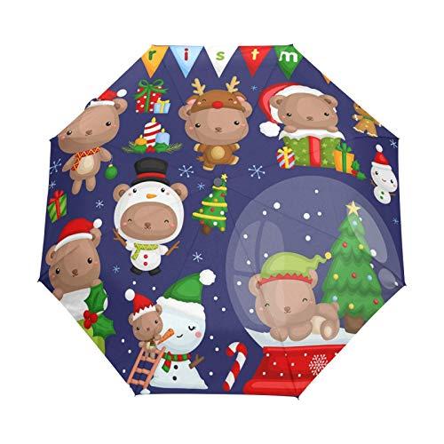Lindo Bebé Oso De Navidad Paraguas Plegables niña niño Automático Resistencia Viento Paraguas Impermeable de Viaje