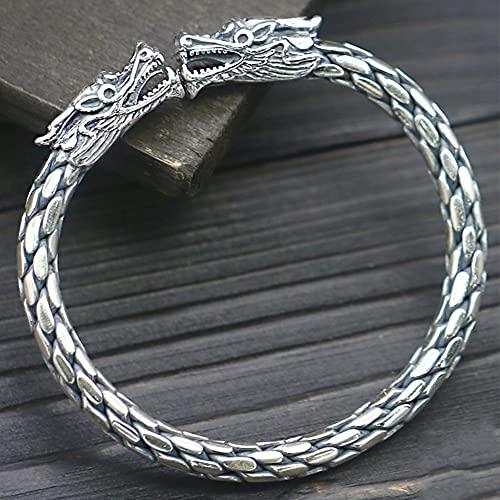 Feinny Brazalete de Tejido de la Vendimia, 925 Plata esterlina del dragón del dragón Pulsera del Manguito, los Hombres Pesados Hand Hand Crafted Braided Anti-Rust & Hipoalergenic Jewelry