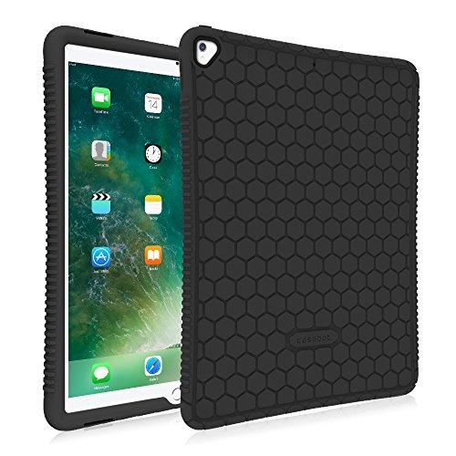 Fintie Silikon Hülle für iPad Pro 12.9 Zoll (2. & 1. Generation, Modell 2017 & 2015) - [Bienenstock Serie] Leichte rutschfeste Stoßfeste Schutzhülle Tasche Hülle Cover, Schwarz