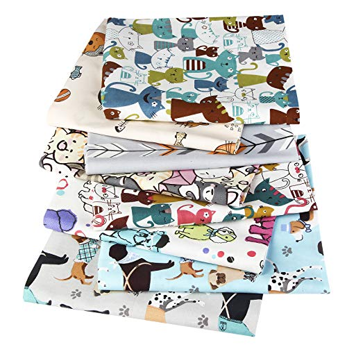 VAVADEN Baumwollstoffe zum nähen schöne Tiere meterware Kinder Mehrfarbig DIY Stoffpaket 8 Stück 50x50cm Stoffe Paket Patchwork Nähstoffe für Nähen und Heimwerken(Type L)