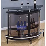 BOWERY HILL Contemporary Glass Home Bar in Black and Chrome