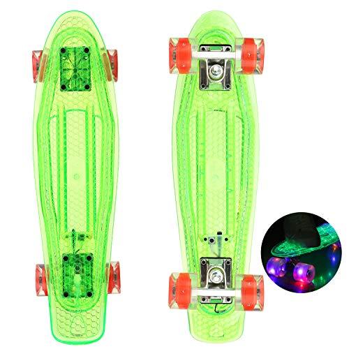 WeSkate Mini Cruiser Skateboard Komplette 22 zoll/55cm mit LED Rädern für Kinder Mädchen und Jungen Erwachsene Anfänger (Grün_2)