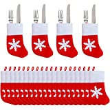 24 Packs Christmas Dinner Table Decorations, Mini Snowflake Tableware Holders, Christmas Socks Decoration Xmas Candy Pouch Bag Socks Stockings Knife Spoon Fork Bag for Christmas Party Decoration Gifts