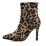 Botines Mujer, Altura del Talón 10 Cm, Estampado De Leopardo Personalizado Botas Cortas con Punta De Aguja, Club De Fiesta,Marrón,EU36