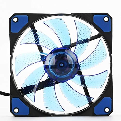 ACEHE Ventilador para computadora, 120Mm Led Ultra Silent Computer Pc Case Ventilador 15 Leds 12V con Conector Molex silencioso de Goma Ventilador de fácil instalación (luz Azul)
