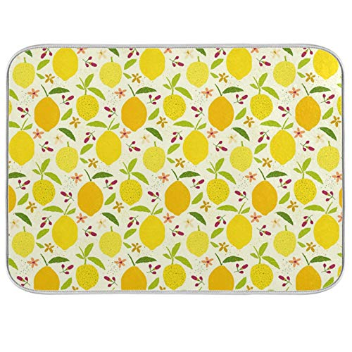Oarenol Yellow Lemons Leaves Dish Drying Mat Flowers Tropical Fruit Large 18 x 24 Inch Reversible Drying Mat for Kitchen Counter