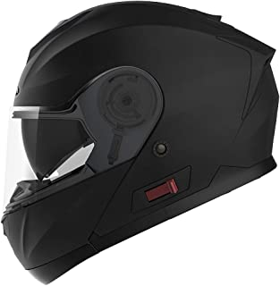 Motorcycle Modular Full Face Helmet DOT Approved - YEMA YM-926 Motorbike Moped Street Bike Racing Flip-up Helmet with Sun Visor Bluetooth Space for Adult,Youth Men and Women - Matte Black,XXL