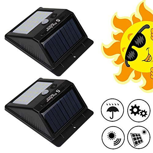 HaroldDol Solarlampen, 2 stuks, voor buiten, 20 leds, voor buiten, superheldere zonnelamp, tuinverlichting, zonnelamp, waterdichte wandlamp met sensor, automatisch