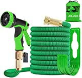 AILUZE Expandable Garden Water Hose Pipe 50ft Magic Expanding Flexible Hose with Brass Fittings Valve 9 Function Spray Gun Nozzle /Storage Bag