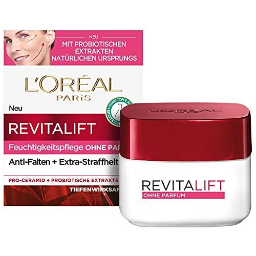 L'Oréal Paris Tagespflege ohne Parfum, Anti-Aging Feuchtigkeitspflege für das Gesicht, Auch für sensible Haut, Mit Probiotika, Revitalift Klassik, 50ml