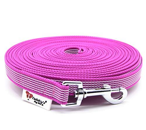 Twinkys Dog Style Made IN Germany Schleppleine Hundeleine gummiert 20 mm breit für Hunde bis 50 kg - OHNE Handschlaufe 15 Meter Pink