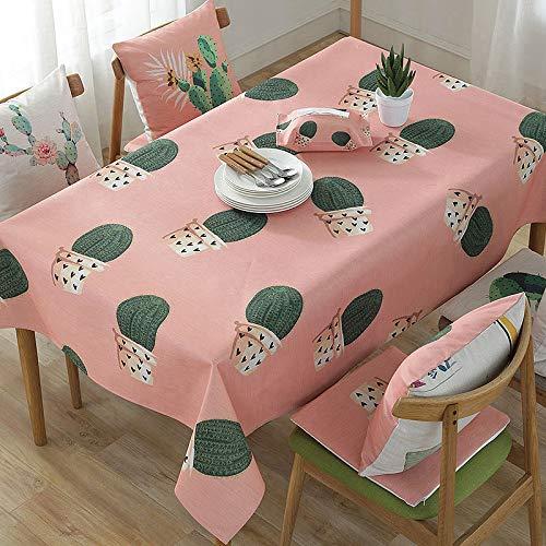 Rood tafelkleed van katoen en beddengoed klein en koel anti-kalk schrijftafel cartoon-tafelkleed rechthoekig cactus 3 kussens 45 x 45 cm