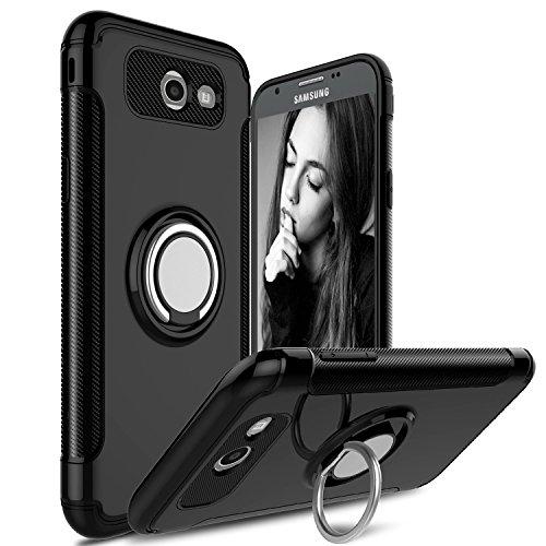 Hülle für Samsung Galaxy J7 Prime/Galaxy On7 (2016) / Galaxy On7 Prime (5,5 Zoll) 360 Grad Drehbar Ringhalter mit Magnetischer Handyhalter Auto Handyhülle (Schwarz)