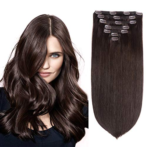 "18"" Remy Human Hair Clip in Extensions for Women Dark Brown(#2) 7 Pieces 120grams"