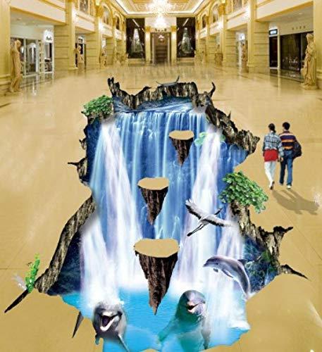 3D Bodenmalerei Wasserfall Klippe im Freien Bodenaufkleber Supermarkt Einkaufszentrum Bodenmalerei-400 * 280cm