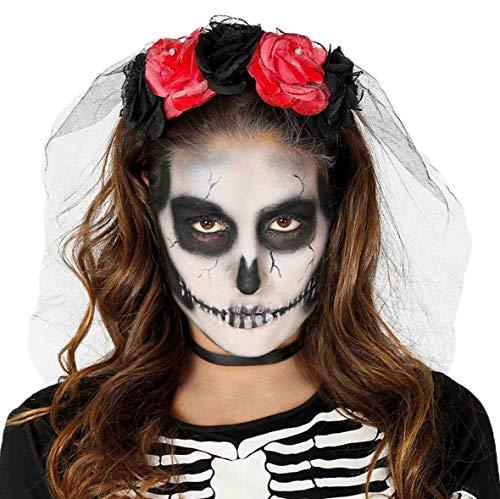 Guirca Haarband Rozen Halloween voor dames, kleur rood/zwart, 1