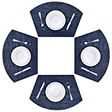 Viomir Round Table Placemats Set of 4 Wedge Placemats Heat Resistant Table Mats Wipe Clean (4, Navy)