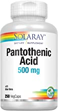 Solaray Pantothenic Acid 500mg   Vitamin B-5 for Coenzyme-A Production & Energy Metabolism   For Hair, Skin, Nails & Digestive Support   250 VegCaps