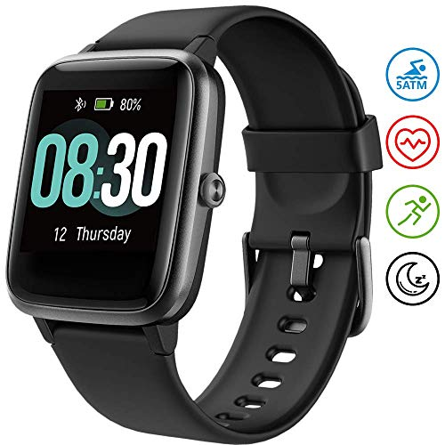 UMIDIGI Smartwatch Fitness Tracker Uwatch3, 5 ATM wasserdichte Smart Watch herrenuhr Armbanduhr Sportuhr mit Herzfrequenz Schlaftracker für Damen Herren Kinder Kompatibel mit Android und IOS, Schwarz