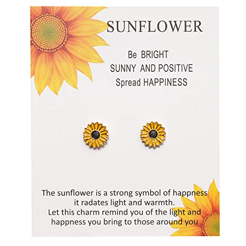 LANSEYAOJI 2Pcs Armband Schmuckseil Sonnenblume Schmuck Glücksbringer Handgemacht Geflochten Schnur Damen Gänseblümchen Halskette Ohrringe Mutter Tochter, Sunflower Earrings