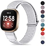 JUVEL Strap Compatible with Fitbit Versa 3 Strap/Fitbit Sense Strap, Soft Woven Nylon Sport Loop Breathable Replacement Wristband for Women Men, WhiteGrey