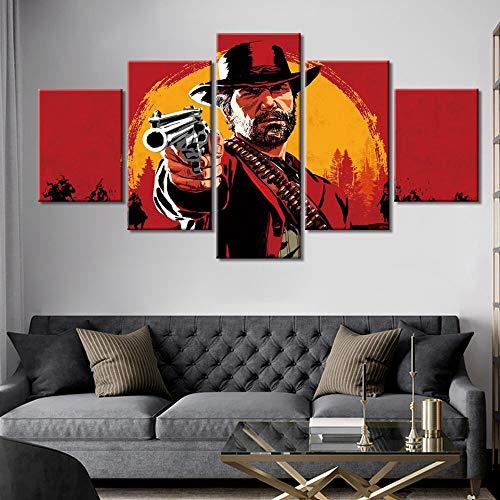 Malerei Auf Leinwand 5 Stücke Red Dead Redemption 2 Poster Und Drucke Wandkunst Bilder Wohnkultur(NO Frame size 1)