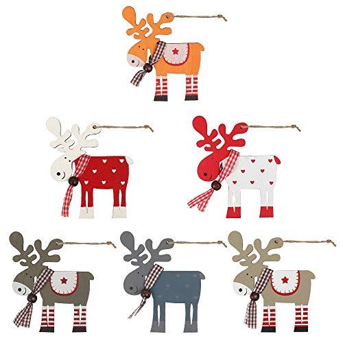 Ledoo Colgante de árbol Pintado de Navidad 6 Piezas Colgante de Madera de Navidad, Adornos de Madera de Navidad, Decoración Colgante de árbol de Navidad para decoración de Navidad Decoración