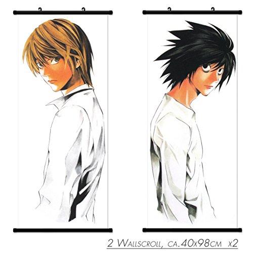 2 PC Kakemono Desplazamiento Pintura Wallscroll de Death Note L y Mural Luz Póster en Tela de Manga del Animado