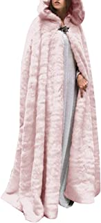 ouxiuli Thicken Wedding Cloak Faux Fur Winter Robes Hooded Bride Capes