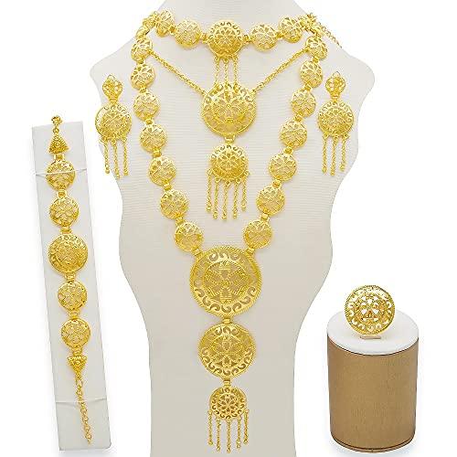 QXZ-WOLFBERRY Conjunto de Joyas de la Pulsera de los Pendientes de los Pendientes del Collar Largo, Conjunto de Joyas africanas de Damas de Oro, Accesorios de Boda (Metal Color : BJ831)