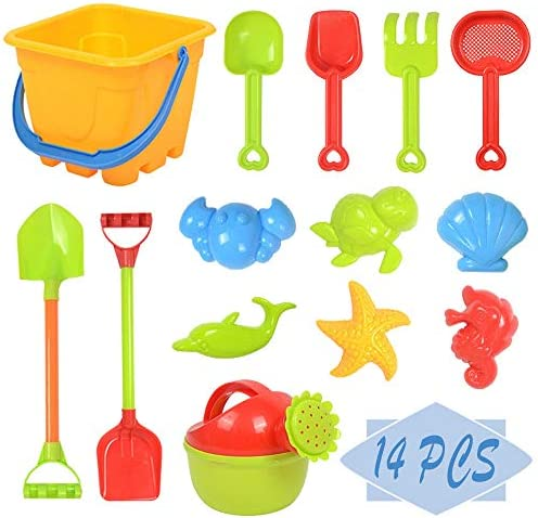 OJYUDD 14 PCS Beach Sand Toys Set Kids Beach Toys Set Baby Bath Toys with Bucket Watering can product image