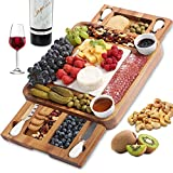 ABELL Cheese Board and Knife Set, Acacia Charcuterie Boards Platter Serving Tray with Double Side...