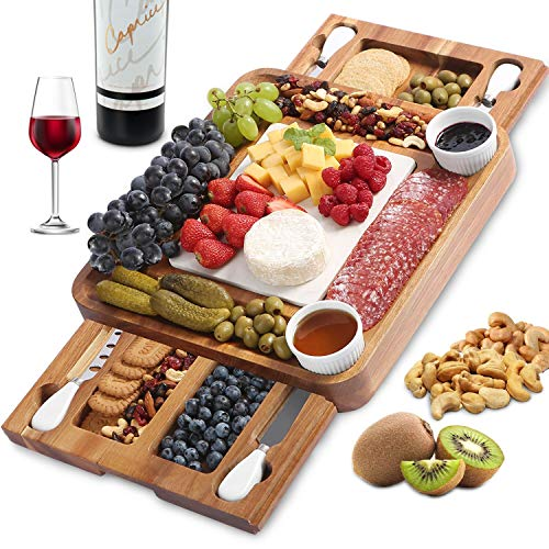 ABELL Cheese Board and Knife Set, Acacia Charcuterie Boards Platter Serving Tray with Double Side Marble Slab for Housewarming Party Birthday Wedding Gifts