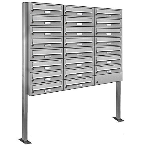AL Briefkastensysteme 23er V2A Edelstahl Stand Briefkasten rostfrei als 23 Fach Briefkastenanlage Freistehend DIN A4 in Postkasten Design modern