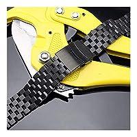 ウォッチストラップ20 / 22MMステンレススチールバンドストラップシルバー/ブラックブレスレットソリッドリンク折りたたみクラスプ女性用安全性付きメンズ腕時計