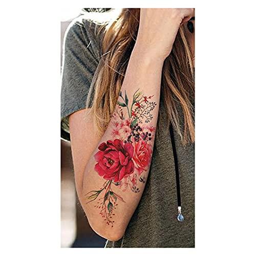 Qqinghan Púrpura Rose Joyería Transferencia de Agua Tatuaje Pegatinas Mujeres Cuerpo Arte Tatuaje Temporal Tatuaje Cintura Pulsera Flash Tatoos Flor (Color : PMZ262)