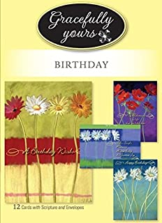Gracefully Yours Blooming Wishes  Birthday Greeting Cards featuring Nel Whatmore, 12,  4 designs/3 each with Inspirational Message